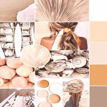 All the summer vibes in the July mood board! Beautiful neutrals with muted pops of peach and orange