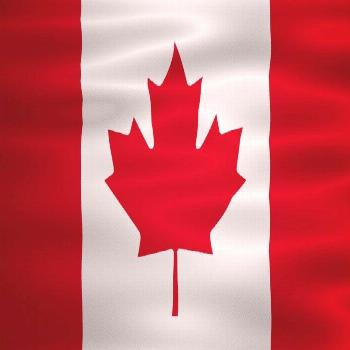 Animated waving national Canada flag. Motion graphics. Happy National Day. Alpha Channel.