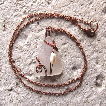 Copper Wire Wrapped Sea Glass Necklace - Pearl and Beach Glass Pendant - Recycled Jewelry - W... Co