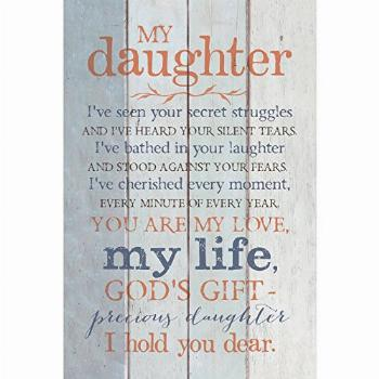 Daughter Wood Plaque with Inspiring Quotes 6x9 - Classy