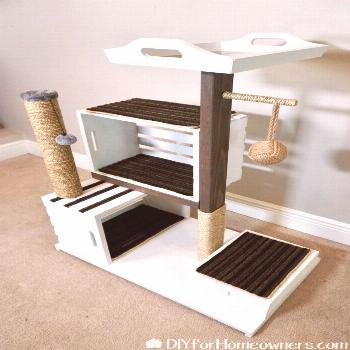 DIY Cat Tower        DIY Cat Tower - Mother Daughter Projects projects