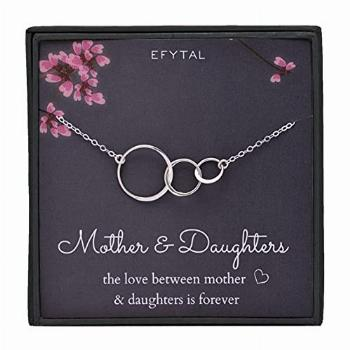 EFYTAL Mom 2 Daughters Necklace, Sterling Silver Three 3