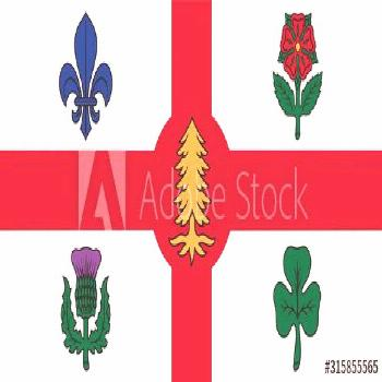 Flag of Montreal. Flag of Canadian City of Montreal. Canada Day. ,