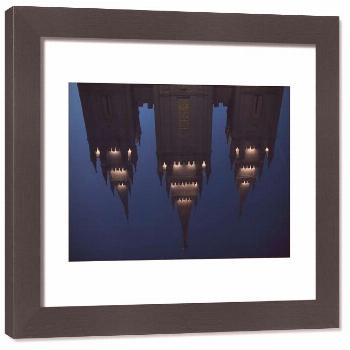 Framed Print-The Mormon Temple is shown reflected in a fountain at Temple Square downtown Salt Lake