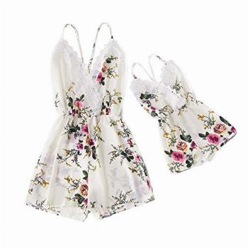 IFFEI Mommy and Me Matching Jumpsuit Outfits Floral Printed