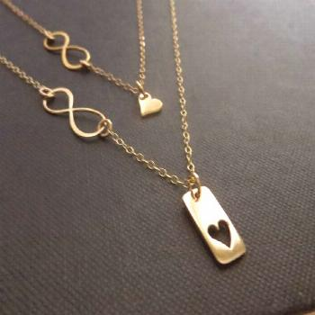 Infinity heart necklace, mother daughter jewelry, Mother daughter necklace set, golden bronze infin