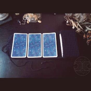 Made to Order Triple Moon Goddess Tarot Pouch with Three Card Spread Mat and Gemstone Bead Tie. Cus