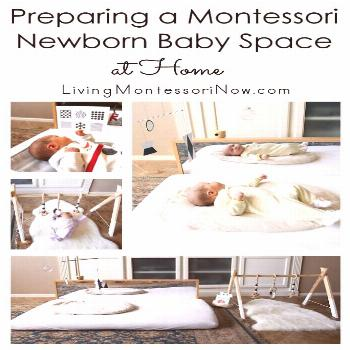 Many ideas and resources for preparing a Montessori baby space at home for newborns up to approxima