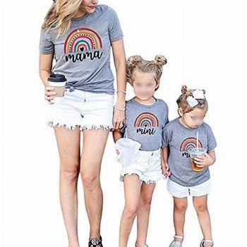 Mommy and Me Rainbow T Shirt Short Sleeve Casual Pull Over