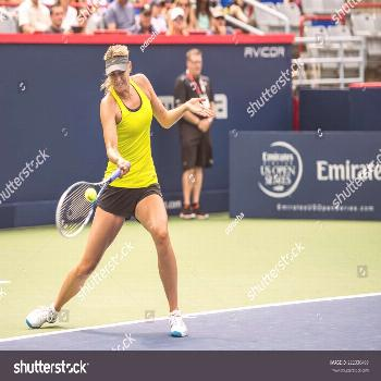 MONTREAL - AUGUST 1: Maria Sharapova of Russia at a practice session at the 2014 Rogers Cup on Augu
