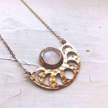 Moon Goddess Necklace - Gold Moon Phase Pendant Necklace with Rainbow Moonstone - Galaxy Outer Spac