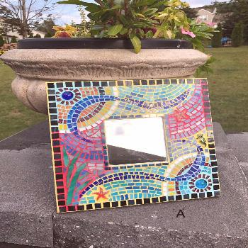 Mosaic mirror for wall Stained glass mosaic mirror Wall   Etsy