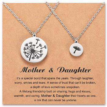 Mother Daughter Necklace Set for 2 Matching Dandelion Mommy