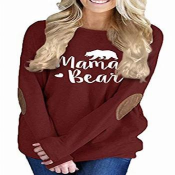 Pink Queen Womens Wine Red Long Sleeve Mother Bear Printing