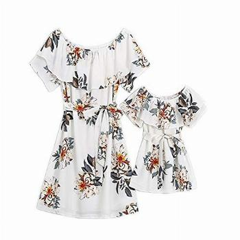 PopReal Mommy and Me Dresses Floral Printed Chiffon Bowknot
