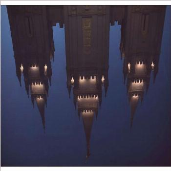 Poster-The Mormon Temple is shown reflected in a fountain at Temple Square downtown Salt Lake-A1 po