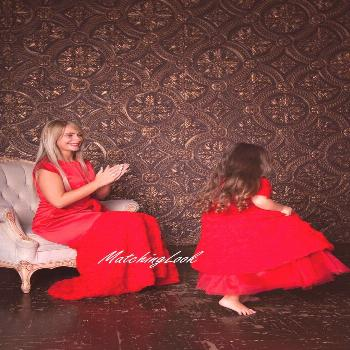 Red Mother daughter matching dress Mommy and Me outfits   Etsy