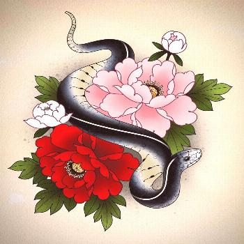 Snake and peonies for Katie ? . . . .