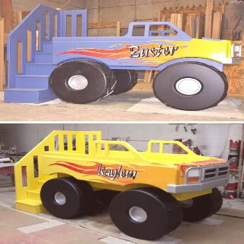 This Monster Truck Bed is just what your little racer needs for their monster truck bedroom. The fl