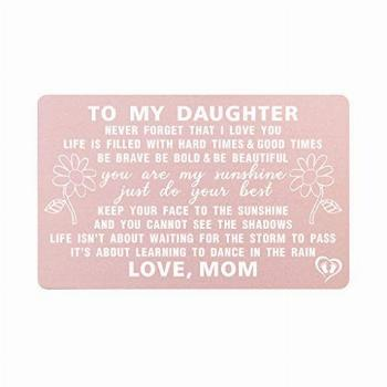 To My Daughter Gifts from Mom, Metal Card for Daughter from
