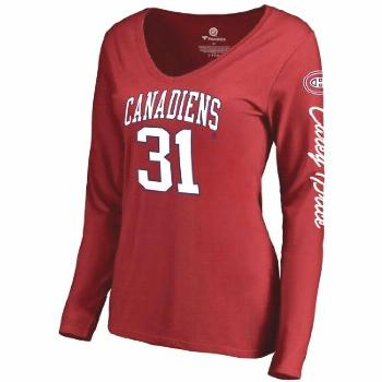 Women's Fanatics Branded Carey Price Red Montreal Canadiens Heartthrob Name  Number Long Sleeve V-N