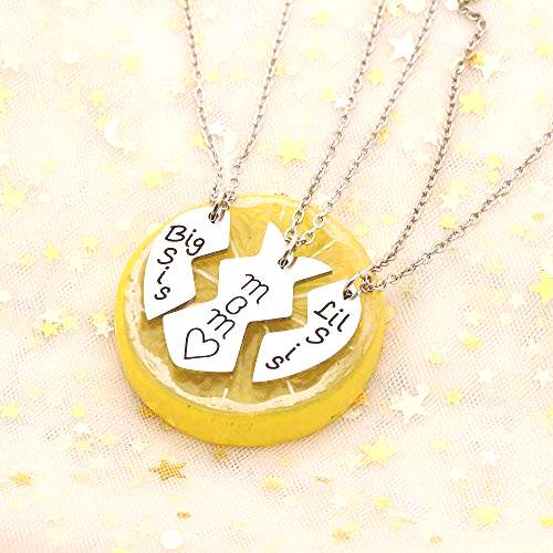 3pcs Stainless Steel Mother Daughter Pendant Necklace - Mom