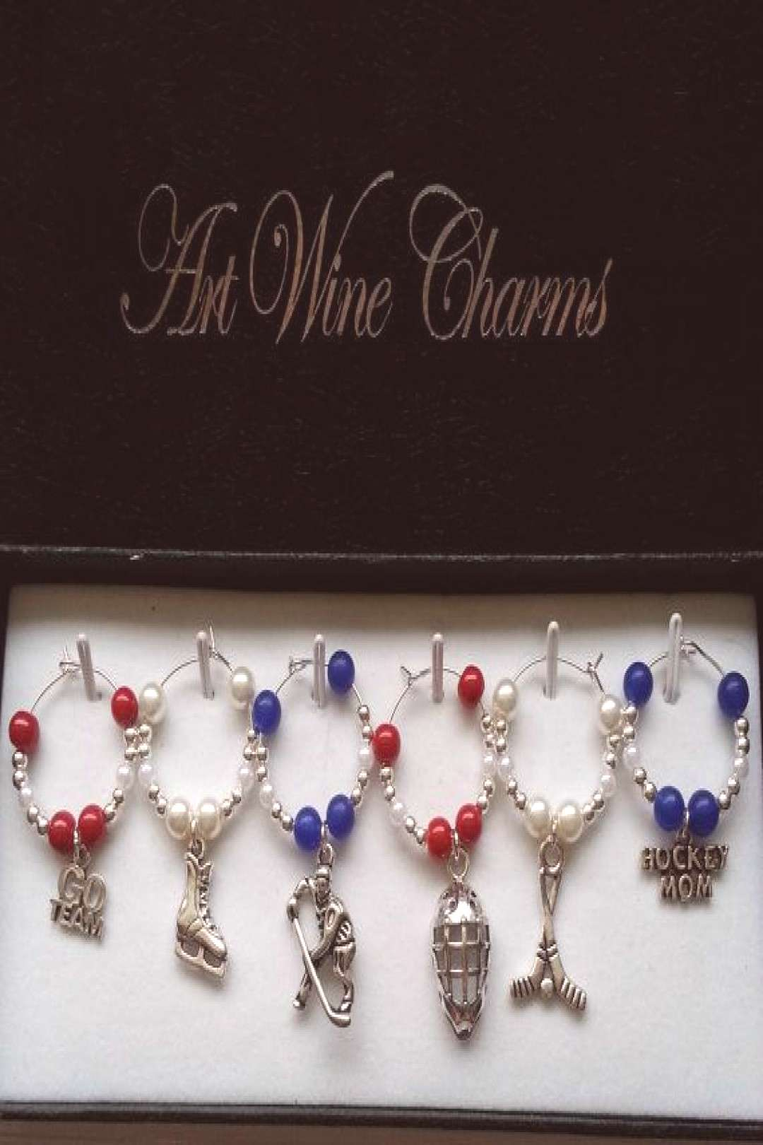 6 Montreal Hockey themed Wine Charms by PickinsGalore on Etsy