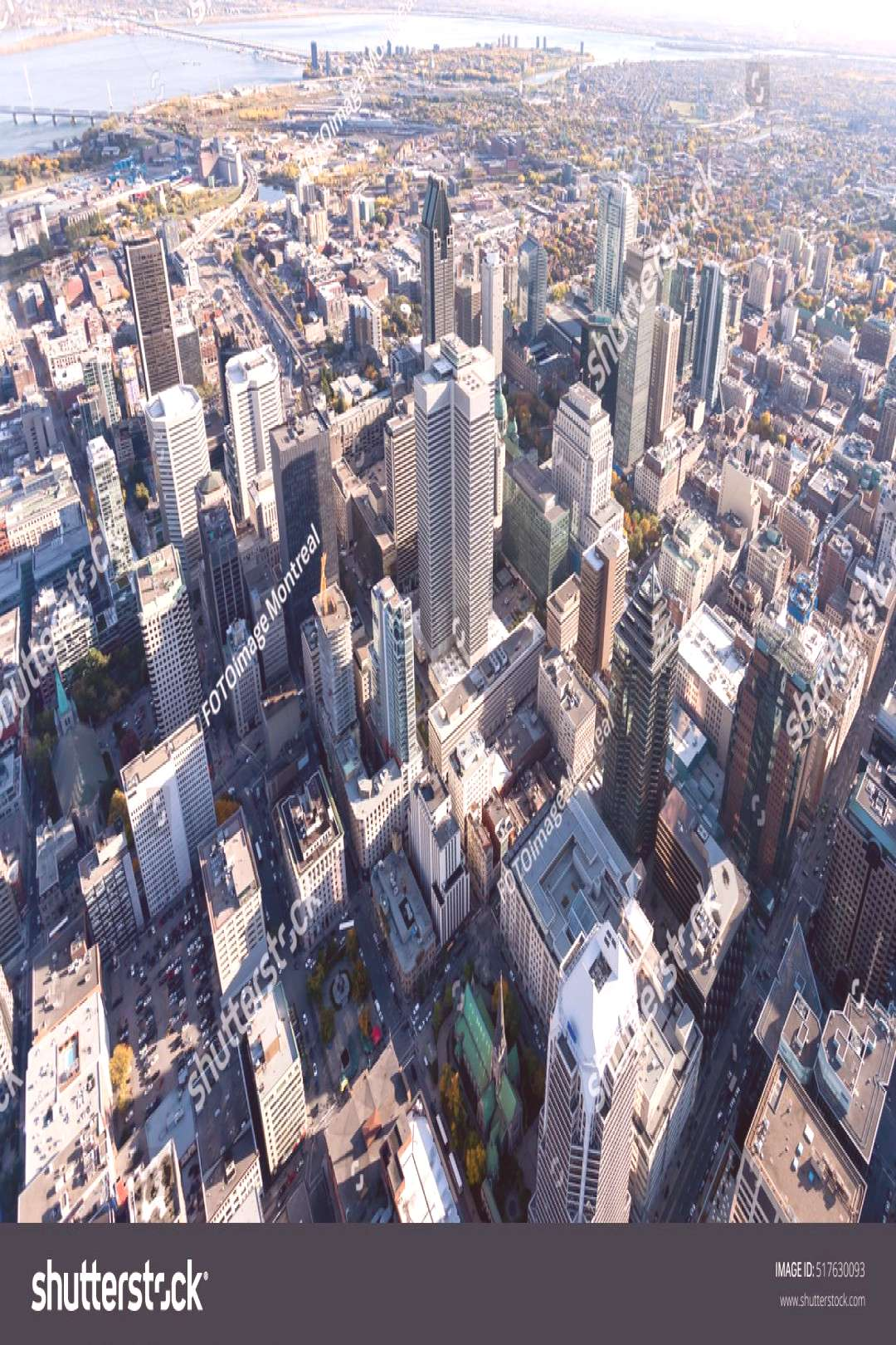 Aerial from from above Montreal city center and its landmark buildings, Canada. ,