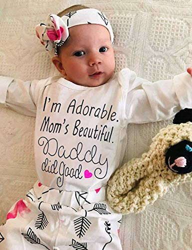 Baby Girl Clothes Cute Mommy Letter Romper Arrow Heart Pants