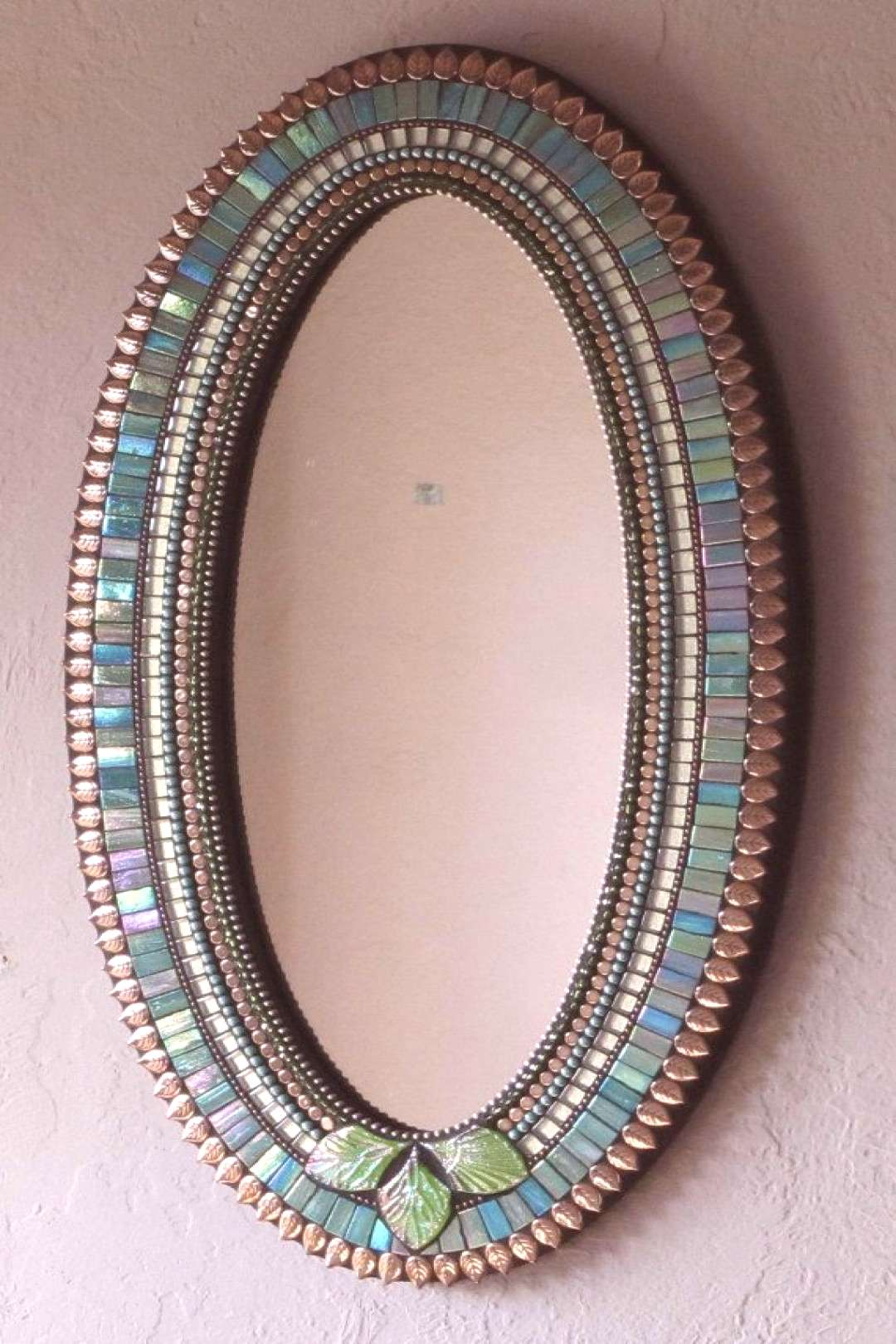 Blue Green and Copper Colored Mosaic Mirror by ChrissieDiller