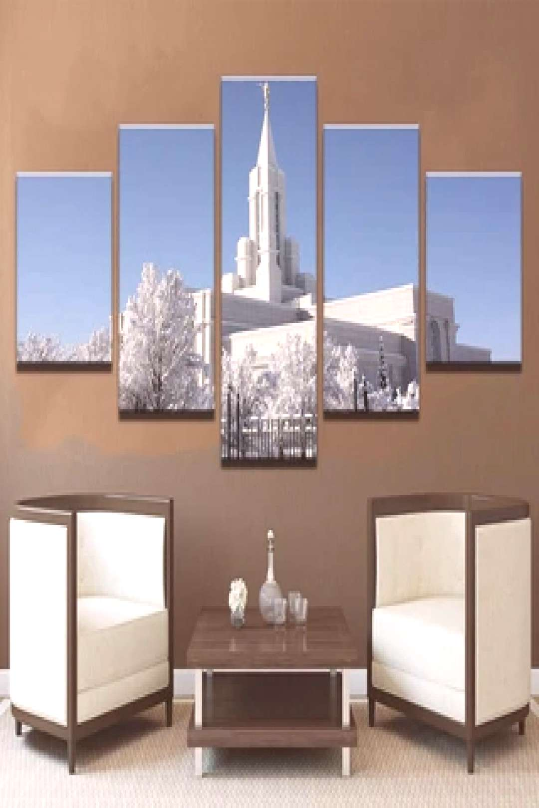 Framed 5 Piece Mormon Temple During Winter Canvas Wall Art Paintings