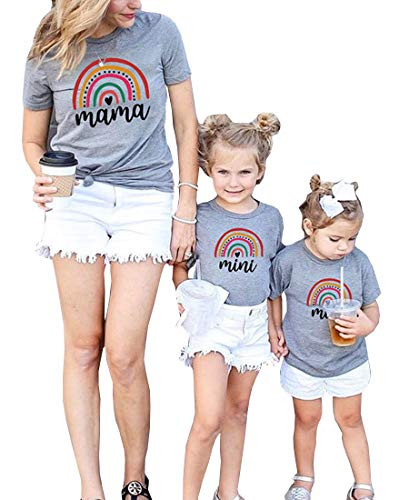 Mommy and Me Shirts Short Sleeve Rainbow T-Shirt Pullover