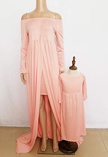 MommyampMe Solid Color Maxi Dress Family Matching Off Shoulder