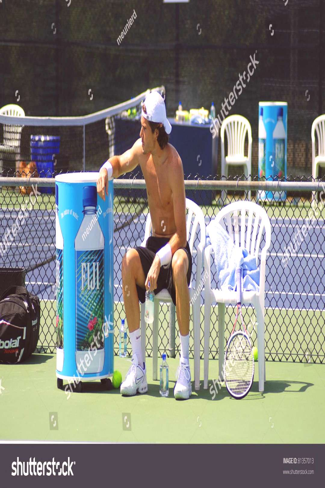 MONTREAL - AUGUST 5 Tommy Haas without shirt on court of Montreal Rogers Cup on August 5, 2009 in