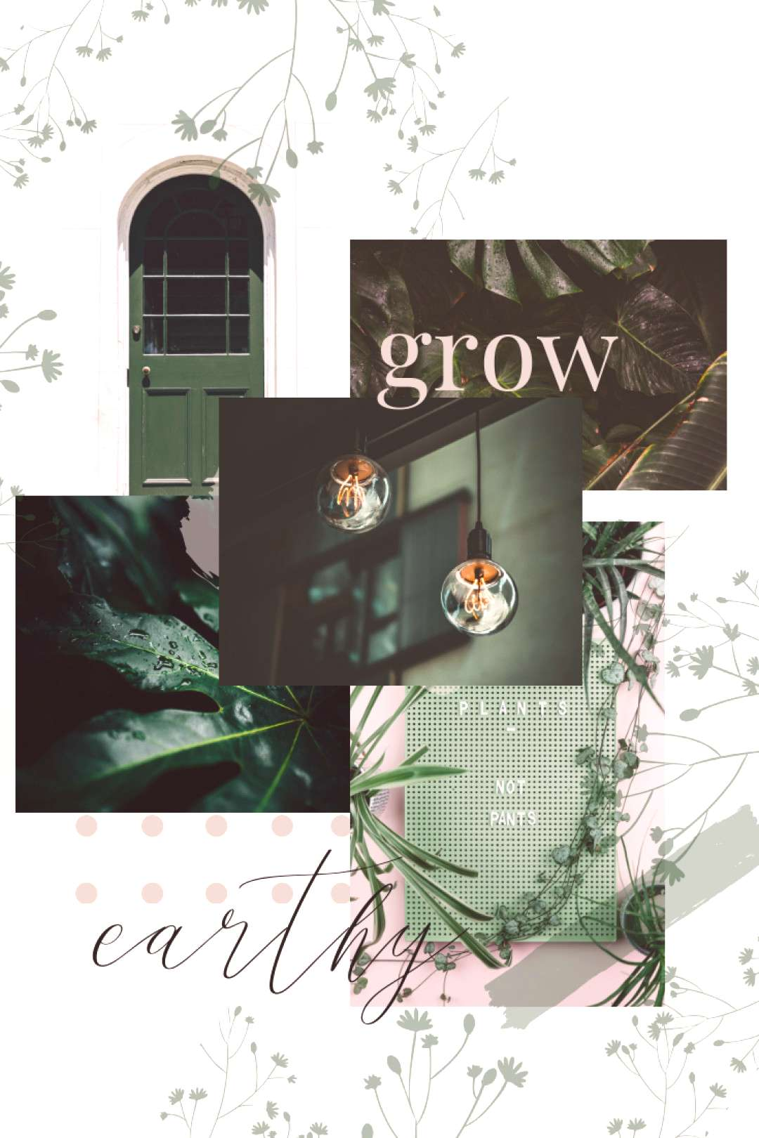 Mood Board | Inspired By Greenery - Dragonfly Ave Studio | Collage Brand Board | Conscious amp simpl