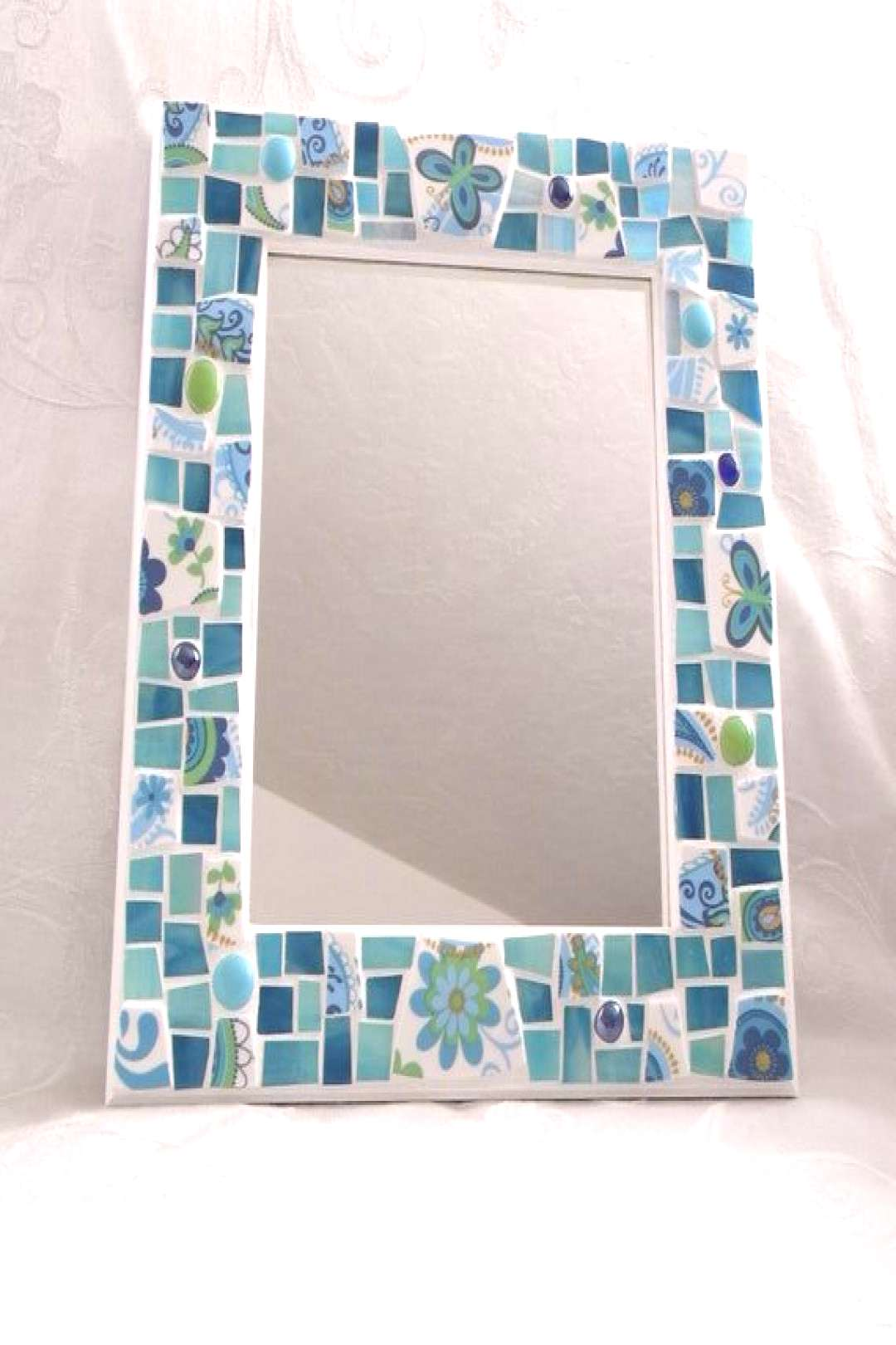 Mosaic Mirror - Butterflies and Flowers - Aqua and Turquoise Colors