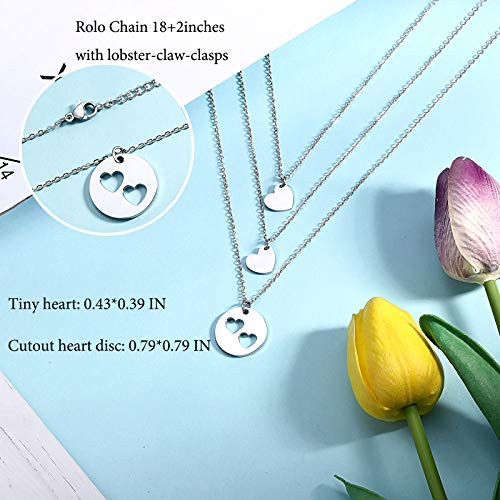 Mother 2 Daughter Necklaces Set for 3, Matching Cutout Heart