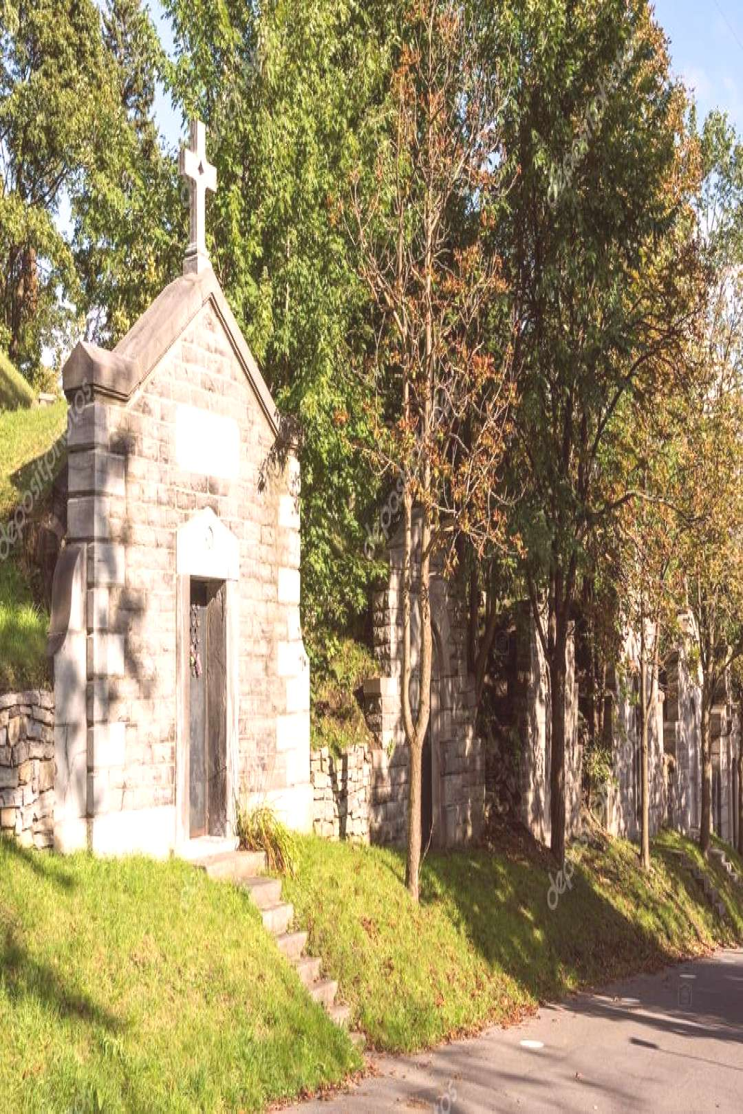 Old tombs in cemetery in Montreal, Canada - Stock Photo ,