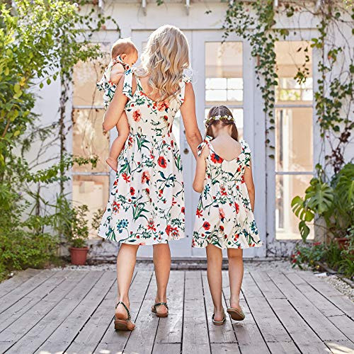 PopReal Mommy and Me Floral Printed Shoulder-Straps Bowknot