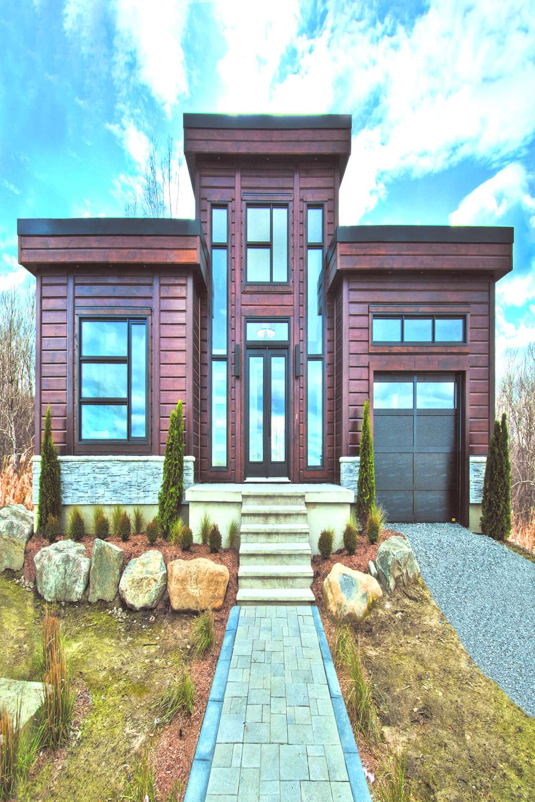 Timber Blocks Contemporary Style Custom Home in Mirabel, Quebec - the Sonoma Were shining the li