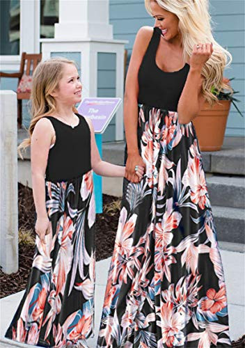 TYQQU Mother and Daughter Matching Outfits Floral Beach